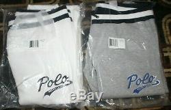 2 NWT Polo Ralph Lauren Men's Double-Knit Graphic Jogger Pants WHITE and GRAY L