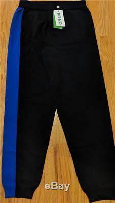 $345 Mens Authentic Kenzo Colorblock Knit Jogger Pants Black/Blue XL