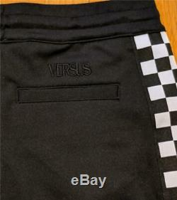 $495 Mens Authentic Versus Versace Checkerboard Stripe Jogger Pants Black Medium