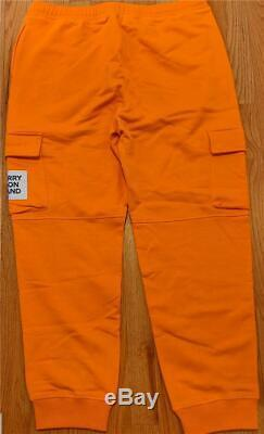 $550 Mens Burberry Foster Square Cargo Pocket Jogger Pants Bright Orange XL