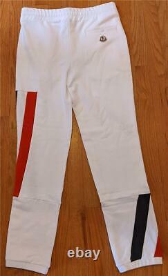 $625 Mens Authentic Moncler Tri-Color Striped Jogger Pants White Medium