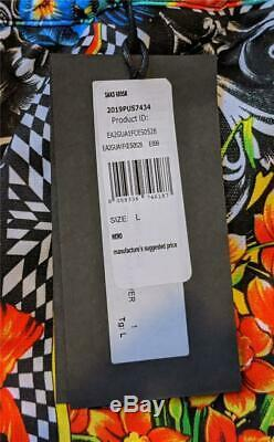$675 Mens Versace Jeans Couture Optical Flower Logo Print Jogger Pants Large
