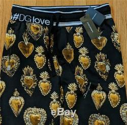 $725 Mens Authentic Dolce Gabbana Sacred Heart Jogger Sweatpants Black 48 US 32