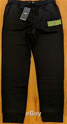 $850 Mens Authentic Fendi Fluorescent Mesh Logo Jogger Sweatpants Black 54 US 38