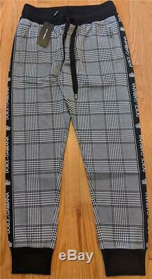 $945 Mens Authentic Dolce Gabbana Logo Plaid Jogger Pants Gray 52 US 36