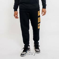 Air Jordan Remastered HBR Jogger Pants AV0690-010 Black and Gold-Size Large