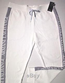 Armani Exchange men's drawstring jogger side pipe logo size large color white