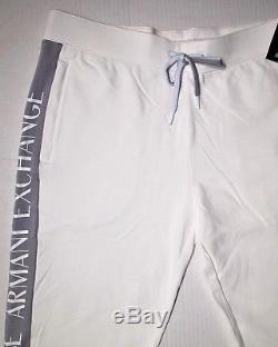 Armani Exchange men's drawstring jogger side pipe logo size xl color white