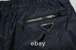 Brand-new Men's Prada Navy Nylon Logo Plaque Pants with Cuff Strap in Size L
