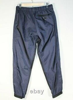 Brand-new Men's Prada Navy Nylon Logo Plaque Pants with Cuff Strap in Size S