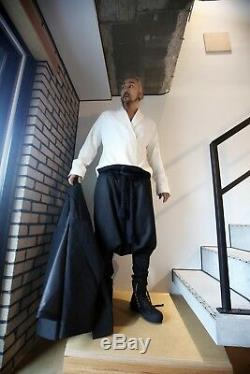 ByTheR Mens Gothic Vintage Soft Woolen Black Rope Belted Baggy Ankle Strap Pants