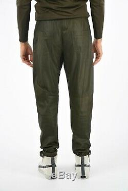 DROMe New Man Green Soft Leather Drawstring Joggers Casual Pants Trouser Size M