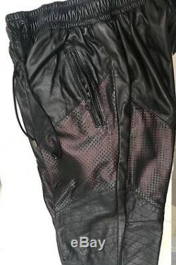En Noir Mens Black/Red Lambskin Leather Pant Joggers High Fashion Exclusive