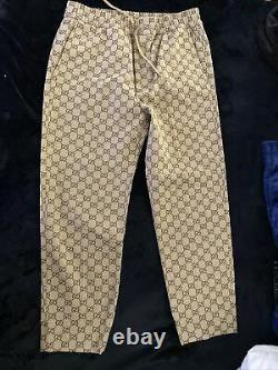 Gucci Men's Natural Tan Canvas GG Pants Size 44
