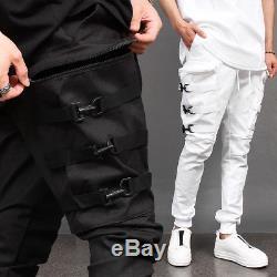 Men's 6 Buckle Zipper Big Cargo Pocket Webbing Strap Jogger Pants 081, GENTLER