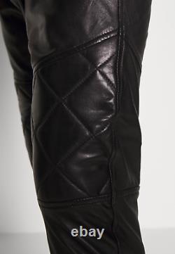 Men's Black Genuine Lamb Leather Track Joggers Pants