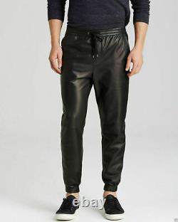 Men's Black Genuine sheep Leather Track Joggers Pants