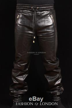 Men's JOGGER Black Lambskin Premium Real Soft Leather Jogging Trouser Draw Pants