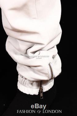Men's JOGGER White Lambskin Premium Leather Jogging Trouser Track Suit Draw Pant
