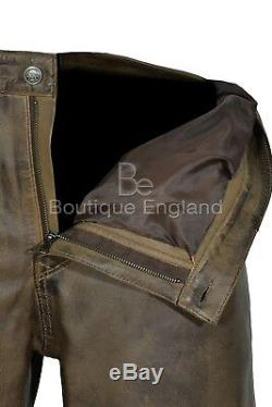 Men's Leather Pant Dirty Brown Motorcycle Style SOFT STRONG Jean Style 501
