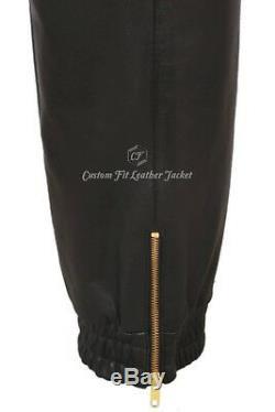 Men's Real Leather Trousers Black Napa Sweat Track Pant Zip Jogging Bottom 3040