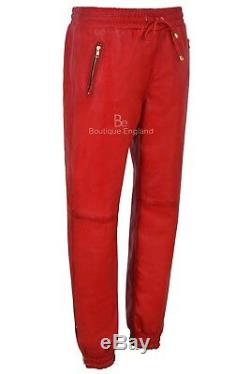 Men's Real Leather Trousers Red Napa Sweat Track Pant Zip Jogging Bottom 3040
