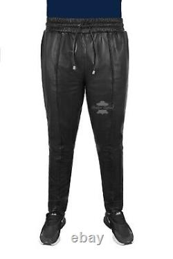 Men's Slim Fit Joggers Soft Lambskin Leather Trousers Jogging Bottom Pants 1073