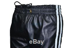 Mens Black White Stripe Real Soft Leather Trousers Track Pant Zip Jogging Bottom