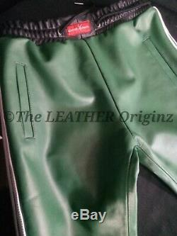 Mens Green Leather Tracksuit with white Stripes Style