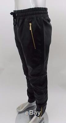 Mens Makobi Big/Tall Black PU Faux Leather Joggers Gold Zipper Pockets Ankle