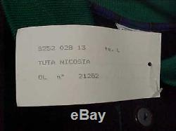 NATUZI Italia Men Black Tracksuit Button Top + Pant Jogger L Sergio Tacchini New
