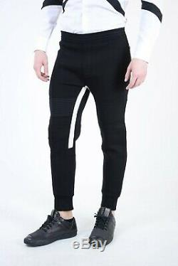 NEIL BARRETT New Man Black Neoprene Skinny Fit Jogger Pants Size M $506 Low Rise