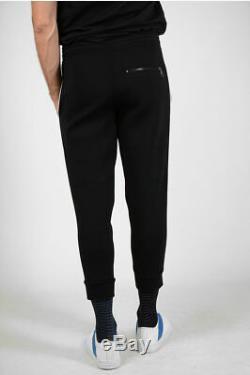 NEIL BARRETT men Trousers Sz M Black Printed Jogger Pants Neoprene Slim Fit
