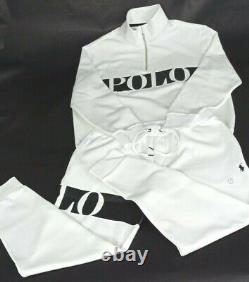 NEW Polo Ralph Lauren 1/4 Zip Pullover & Jogger Pant Set White Black Men's Large