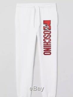 NWT H&M x Moschino MTV White Sweatpants Joggers Unisex Sweats Mens M Sold Out