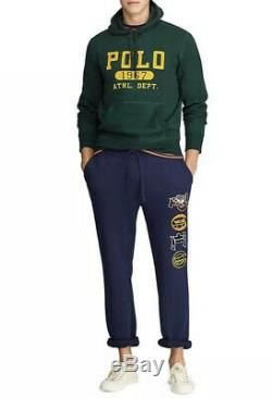 NWT! Polo Ralph Lauren Mens Cotton-Blend-Fleece Pants Navy SZ L&XL MSRP $168