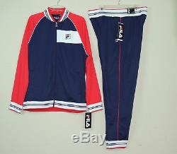 New Fila Mens Gym Jogger Moda Tricot Tracksuit Jacket Pants Set Blue SZ M L 2XL