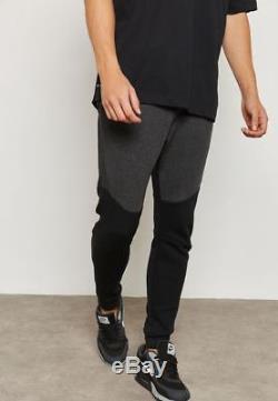 New Mens 2xl Nike Tech Fleece Black Grey Heather Joggers Slim Taper Pants 805162