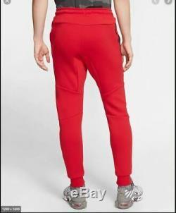 New Mens L Large Nike Tech Fleece Joggers Slim Pants Red White Black 805162 657
