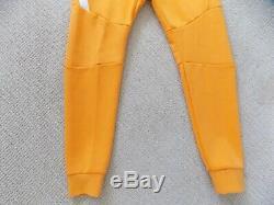 New Mens L Nike Tech Fleece Joggers Pants Kumquat Yellow White Slim 805162 886