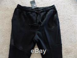 New Mens S Small Nike Tech Fleece Tf Joggers Pants Slim Black Cuff 805162 010