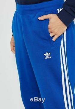 New Retro Blue Adidas Originals Fleece Bottoms Joggers Track Pant 3 Stripe Men