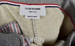 New THOM BROWNE Men's Gray Cotton Sweatpants Pants Sizes 3, 4 Jogger Bar $590