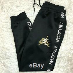 Nike Air Jordan Jumpman Tricot Men's Pants Ct9373-011 Jogger Black Gold Sz XL