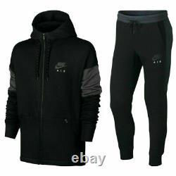 Nike Air Mens Full Tracksuit Fleece Hoodie Track Pant Fleece Bottom Black/Grey