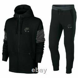 Nike Air Mens NSW Fleece Full Tracksuit Hoodie Jacket Pants Joggers Black