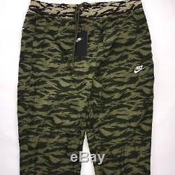 Nike Big Swoosh Woven Print Jogger Pants Green Camo Black AO0863-222 Men's Large