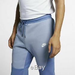 Nike Men Tech Fleece Jogger Pants indigo Storm Fog White Size Large 805162-458