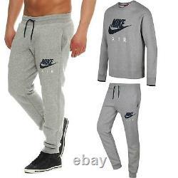 Nike Men's Air Fleece Tracksuit Top Bottomwear Grey Joggers Sweatshirt Pants