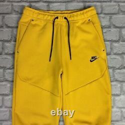 Nike Mens Uk S Dark Sulphur Black Tech Fleece Joggers Track Pants Yellow Ep
